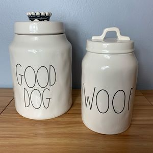 SET OF 2 RAE DUNN PET SNACK CANISTERS